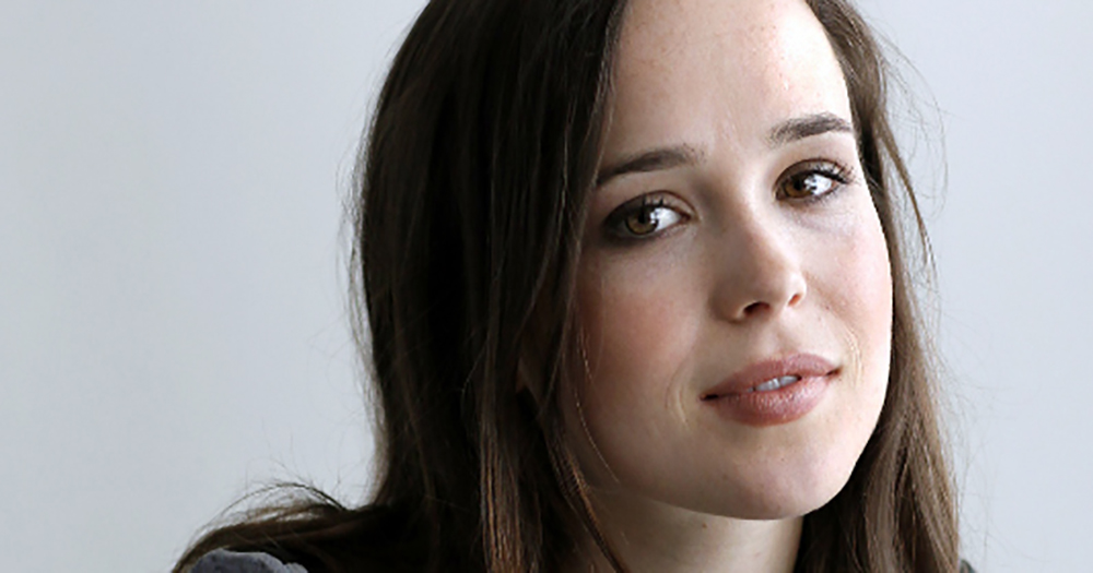 Close-up of Canadian actress Ellen Page looking at the camera