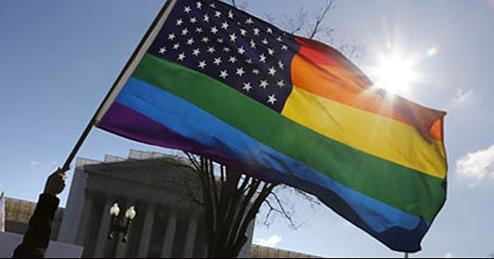 Rainbow-striped American flag representing gay marriage in America
