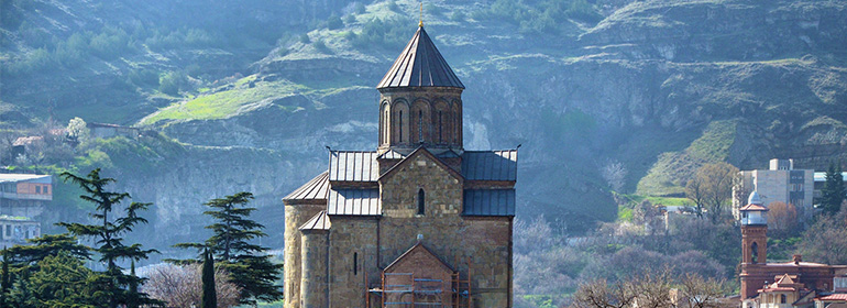 A church in Georgia where 10 men were arrested for LGBT activism as part of IDAHOT 2016