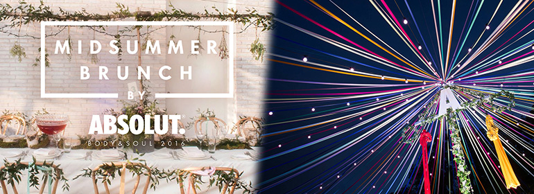 Absolut Midsummer Brunch table with chairs, and Absolut ribbon stage at Body and Soul 2016