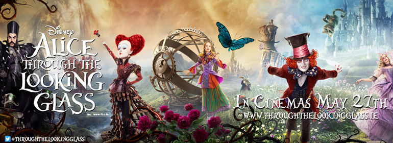 Alice Through the Looking Glass poster with the queen of hearts, alice, the mad hatter, and time