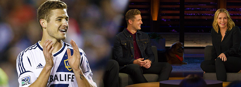 Chelsea Handler interviewing gay soccer player Robbie Rogers who plays for soccer team LA Galaxy