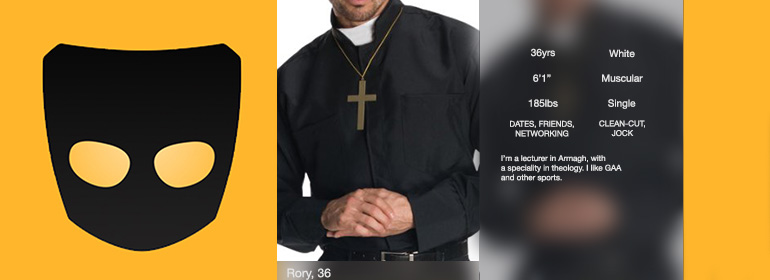 Recreation of Northern Irish priest Grindr pics on the popular gay dating app