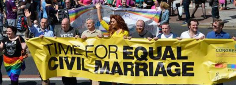 Amnesty International at a march for marriage equality in Northern Ireland while DUP block gay marriage again using peace process mechanism