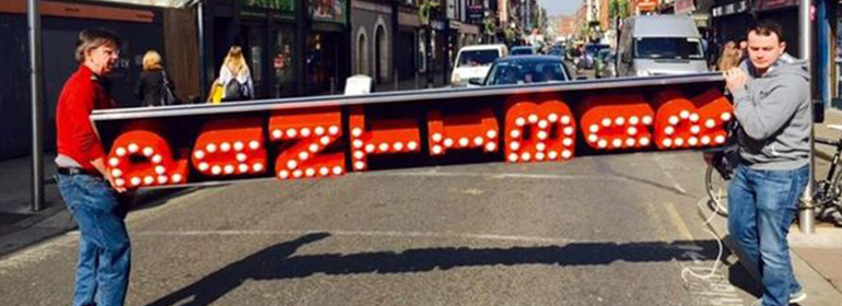 There was a petition to Save the Pantibar Sign which is being carried to its final location on Capel St here.