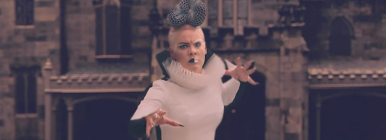 Pink poses with hands clawed and nails out in new music video Just Like Fire.