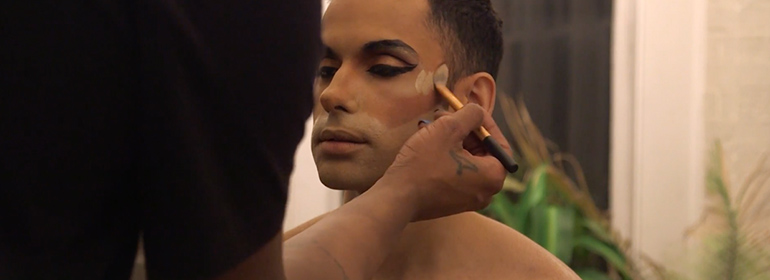 Michael Alexander becoming a drag queen in Drag Mother Birthing a Drag Queen
