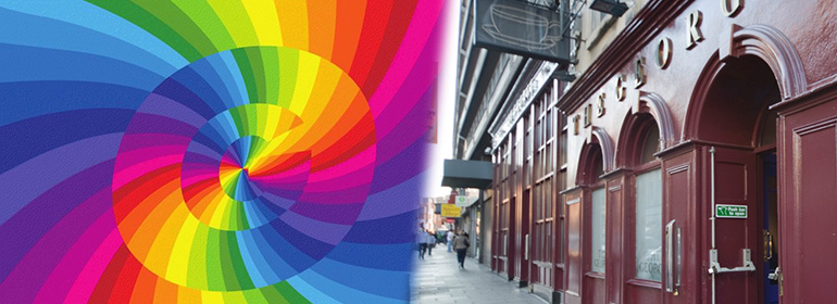 The george rainbow logo (left), the george bar exterior (right) as the george create a fundraiser for orlando