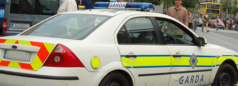 A Gardai car on O'Connell street offering extra pride security for 2016