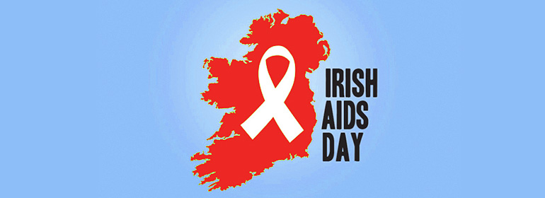 Irish Aids Day logo - red ireland with a white ribbon
