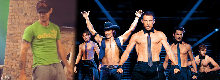 Alex Pettyfer left reliving his Magic Mike days, Magic Mike cast topless on the right