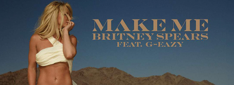 Britney Spears in white bikini in a desert for Britney Spears Make Me... new song album cover