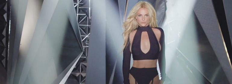 Britney Spears New song with britney in black lingerie on an avant garde stage