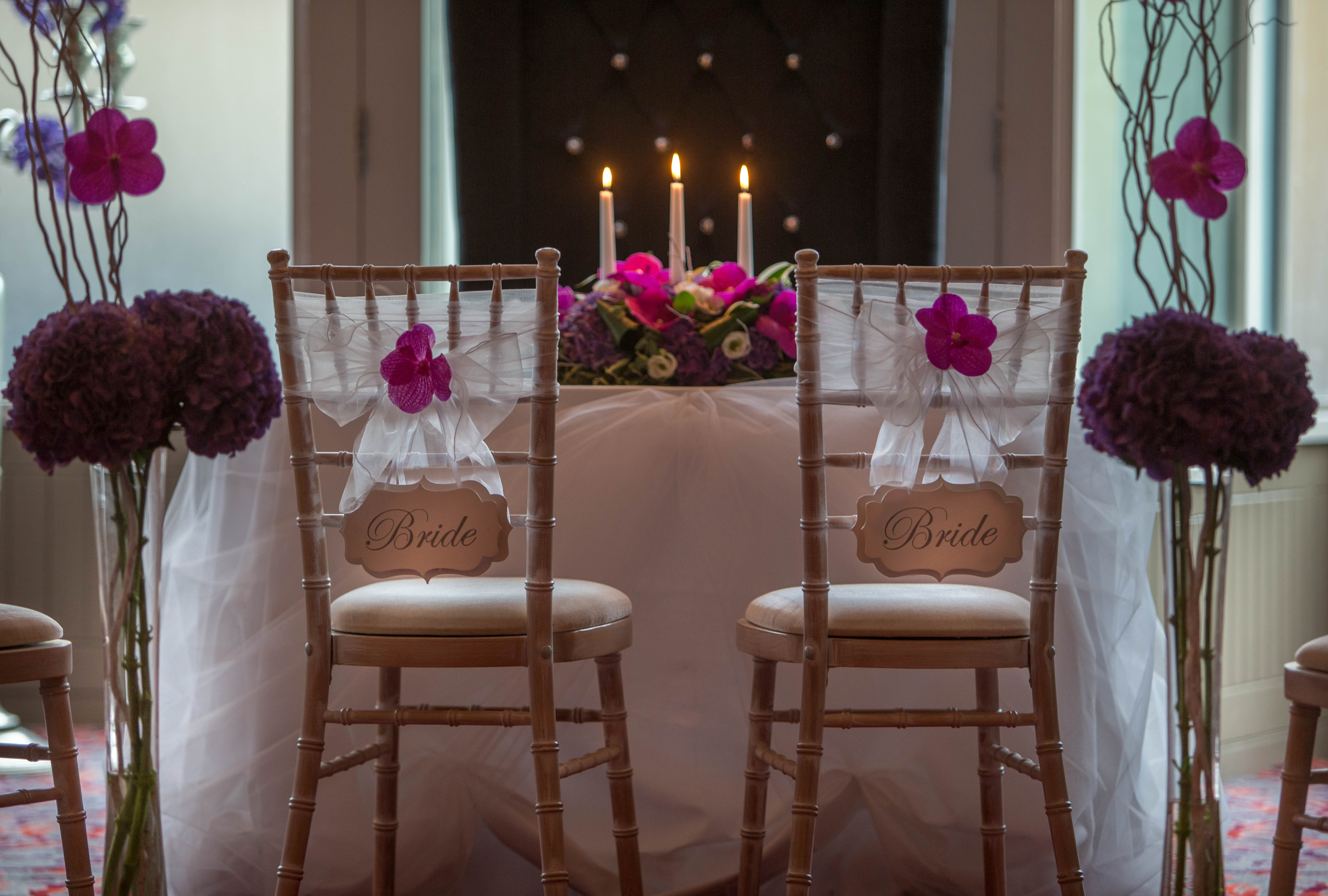 Trinity City Hotel with two Bride chairs where the Vintage Wedding Party will take place