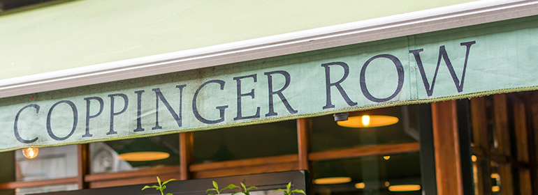 Coppinger Row's awning with the words coppinger row written on it