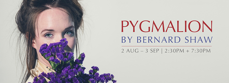 Pygmalion poster with a girl and purple flowers on the left which will be on the smock alley theatre