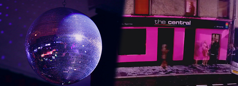 The Only Gay Bar In The Village's bar The Central on the right, and a disco ball on the left