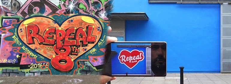 Wicklow artist recreates maser's repeal the 8th mural (left) at the project arts centre (right)