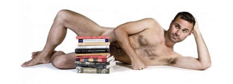 Conner Habib, the Porn Star who got his name in Irish pub, lying with books covering his privates