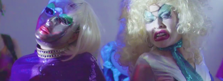 Two women performing in lady drag