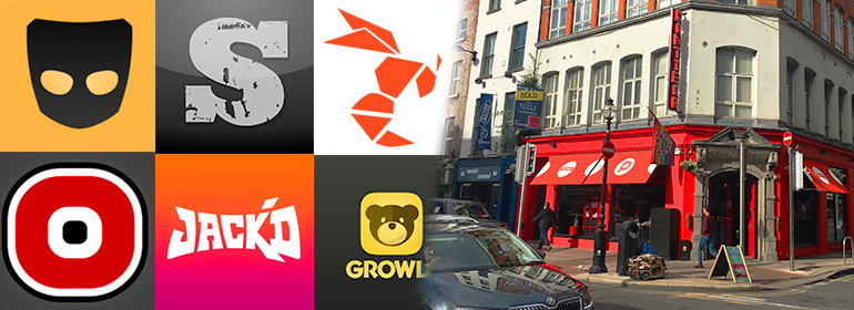 Gay dating in Dublin guide image with gay dating apps on left, pantibar on right