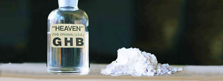 GHB in a glass bottle with a white powder beside it - GHB will get you barred for life from Buzz's clubs