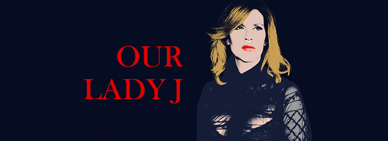 Our Lady J illustration in navy, skin, red and blonde hair