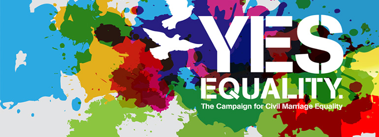 Yes Equality Campaigners who bore this Yes Equality logo received hate speech from reform opponents