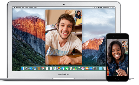 Image of Apple's FaceTime on Macbook and iPhone as people communicate during a long distance relationship