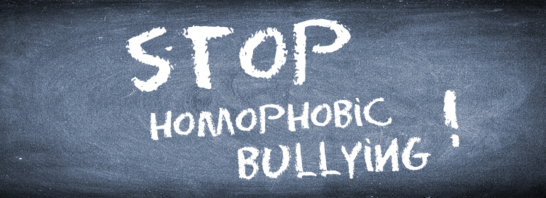 Stop Homophobic bullying drawn on a chalkboard