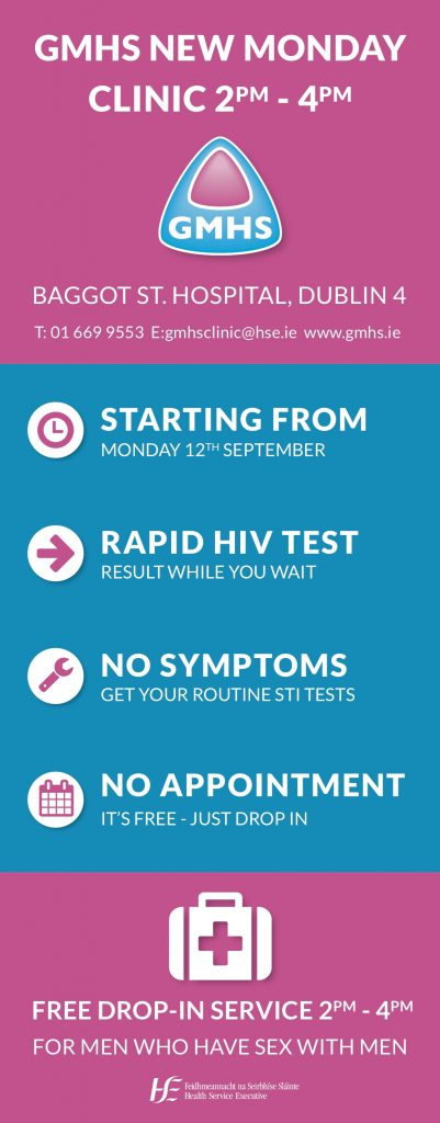 An ad for GMHS' new Monday clinic at Baggot St from 2-4pm saying it starts Monday 12 September 2016, offers rapid HIV testing, quick STI check for those with no symptoms and no appointment is necessary.