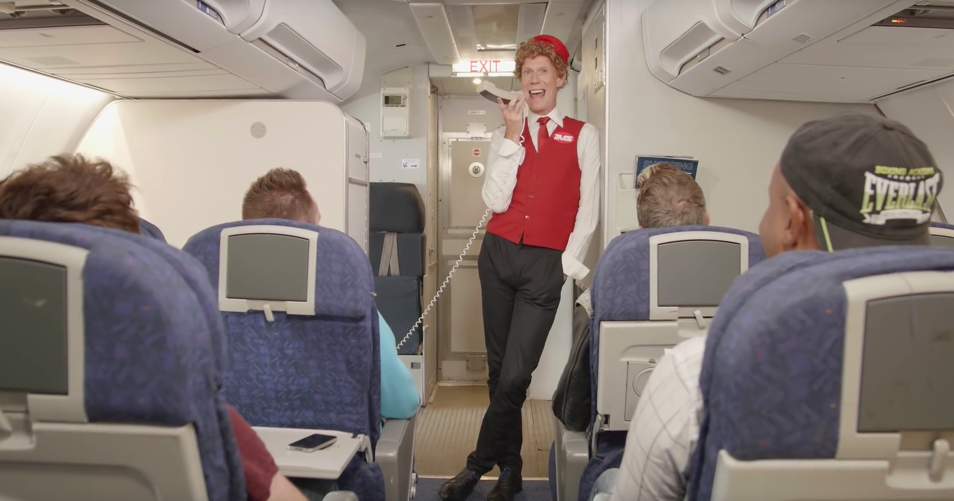 The flight attendant on HIV Air in the video for the new HIV support group My HIV, My Rules, My Journey