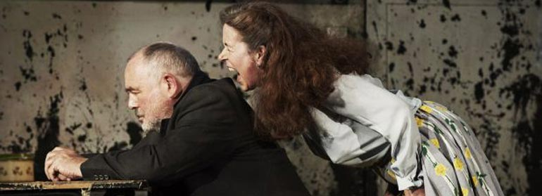 A woman shouting at a man in the play the remains of maisie duggan