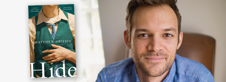 The book Hide by matthew griffin on the left with the author in a blue shirt on the right