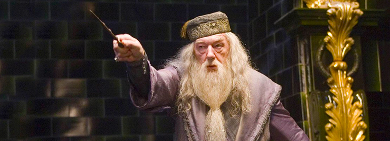 Dumbledore raising his wand, Dumbledore is in today's cuppán gay as maybe coming back to the Harry Potter spin-offs
