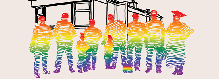 LGBT traveller poster with people coloured in with scribbles that are rainbow coloured, for LGBT pavee and traveller Pride