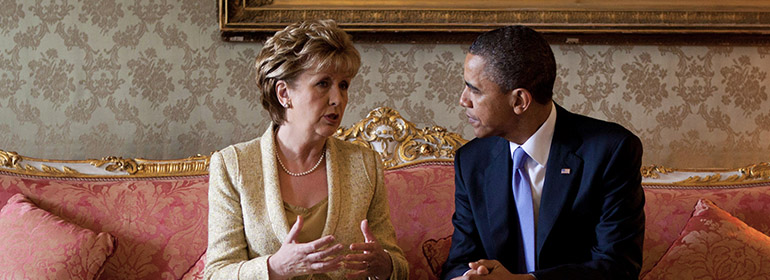 Mary McAleese, who said homophobia makes life for gay people intolerable, sitting beside Barack Obama