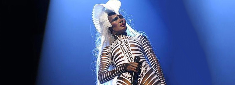 Metropolis Festival 2016 will feature Grace Jones, who is pictured here in a headpiece and stripes white outfit