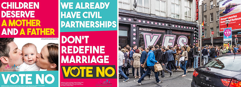 'No' campaign posters on the left with Pantibar on the right with a giant YES on it's windows