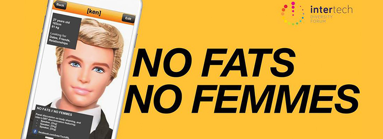 No fats // no femmes poster with a picture of a ken doll in a grindr profile