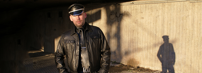 A man dressed in leather, which is what Conor Vaughan Buggy is talking about: Leathermen