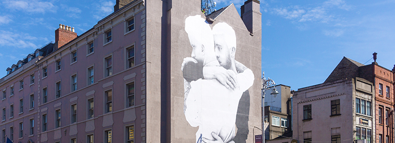 The same-sex marriage mural that Joe Caslin created in the run up to the ref erendum