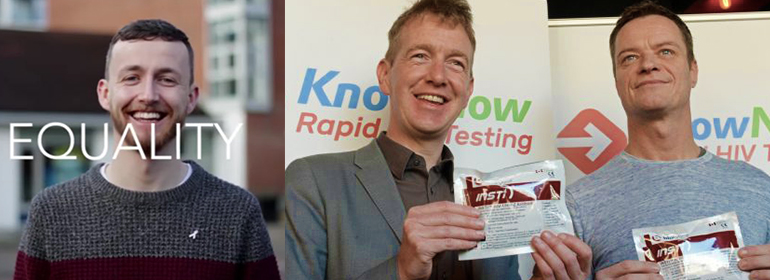 Adam Shanley from KnowNow alongside Panti holding a rapid HIV testing kit