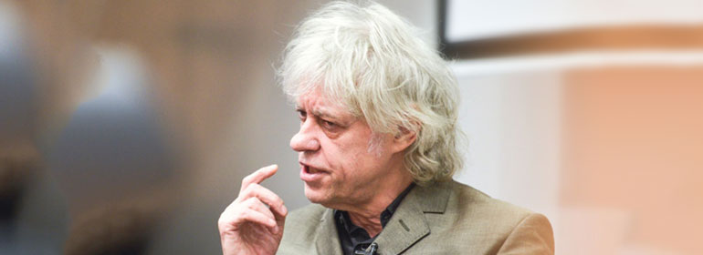 Bob Geldof speaking in TCD about transgender bathroom rights