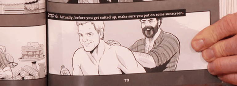 Nick Offerman's homoerotic comic in his new book in Today's Cuppán Gay