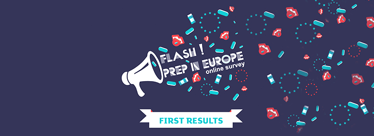A cartoon megaphone with blue PrEP pills on tongues for the flash! PrEP in europe online survey which is gives information on the 2016 PrEP survey results