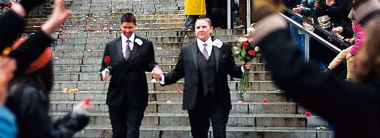 Two women who have just been married as same-sex marriages become legal in ireland last year