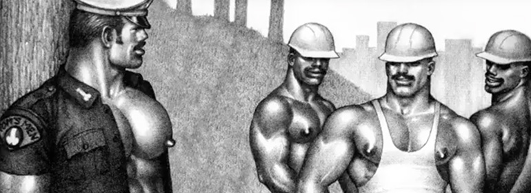 Tom of Finland men in the new animated video in today's Cuppán Gay