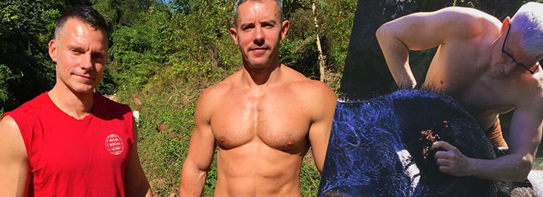 A man in a red tank top, a man standing topless in front of greenery and anderson cooper topless washing an elephant