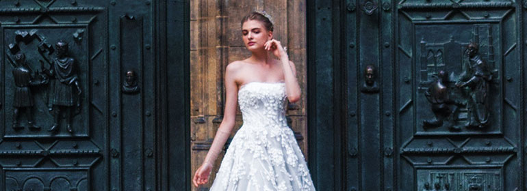 A photo of a bride outside a church - which could have been taken by one of the five LGBT wedding service providers, like a photographer